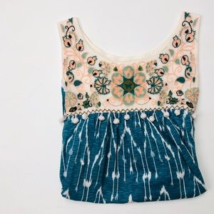 Anthro Floreat Embroidered Tassel Tunic Tank